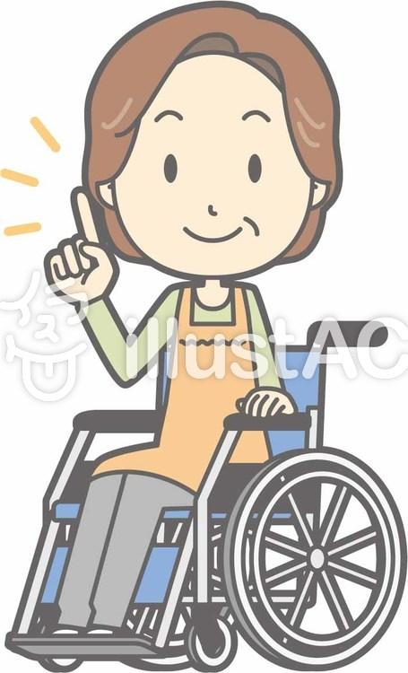 中年主婦a-車椅子指差し-全身のイラスト