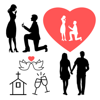 Lovers silhouettes and icons
