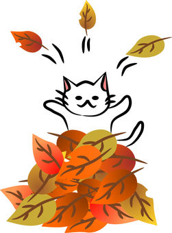 Nyanko Hello from the mountain of leaves