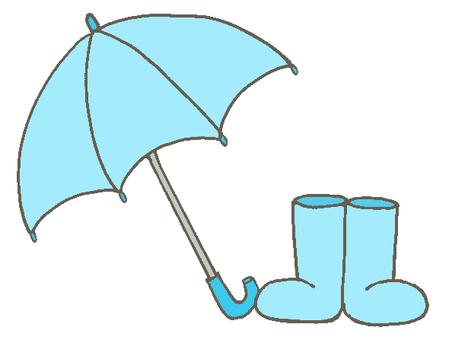 Umbrella and boots light blue