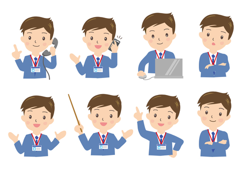 Various poses of a businessman