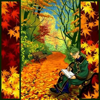 在秋天綠樹成蔭的街道2