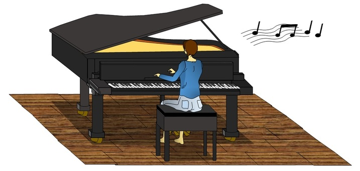 一個女人在彈鋼琴···家裡
