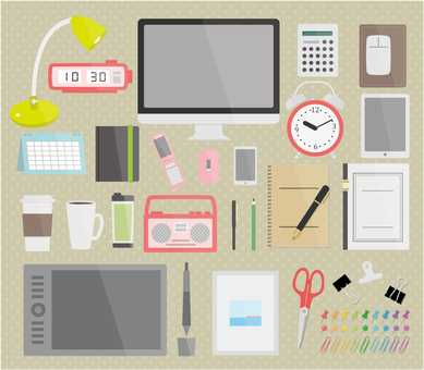 Illustration of goods around desk