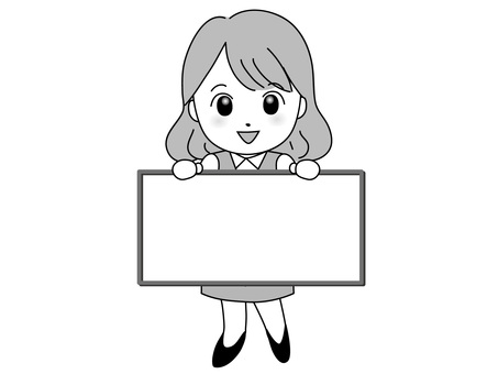OL woman with signboard (monochrome)
