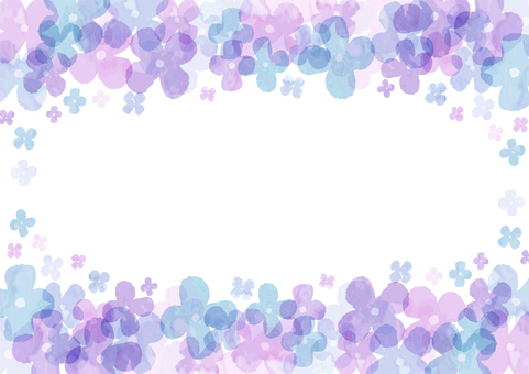 Ajisai watercolor style background / horizontal transparent ant