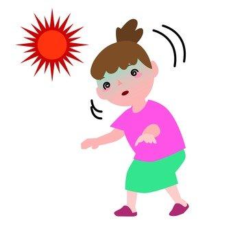 Woman wobble with heat stroke