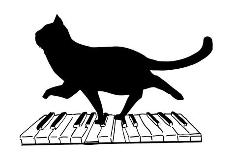 Black cat silhouette piano