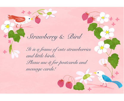 Strawberry and little bird frame