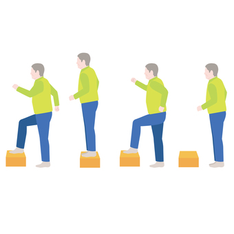 Flow of step up and down (bench step) movement