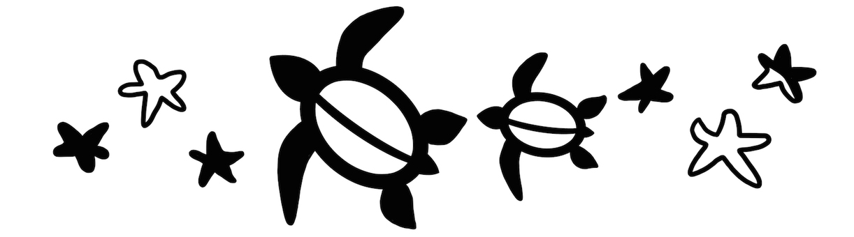 Sea turtle and starfish