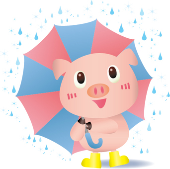 A pig with a umbrella