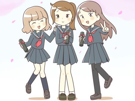 Girls' students (graduation ceremony)