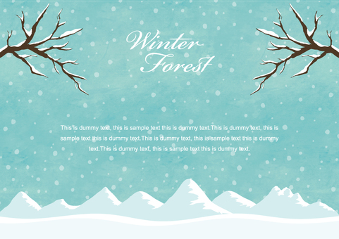 Winter background frame 009 Snow mountain watercolor