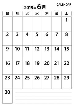 Black-and-white calendar June 2019