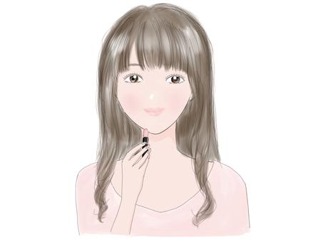 Wearing pink (long hair)
