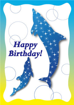 Dolphin Star Birthday Card 03