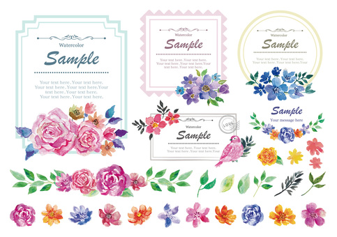 Watercolor flower luxury frame set