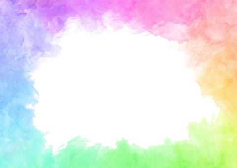 Rainbow color frame of watercolor painting