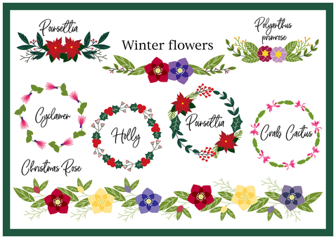 Winter flower frame Handwritten illustration material