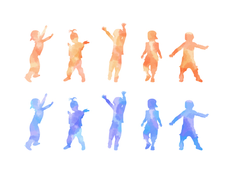Watercolor silhouette kids dance