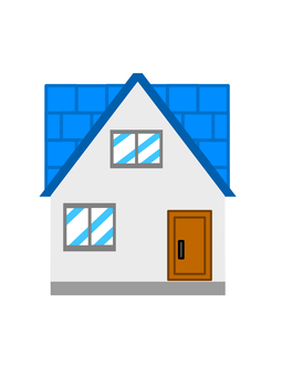 Small house with blue roof