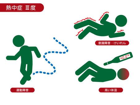Symptoms of heat stroke (severe)
