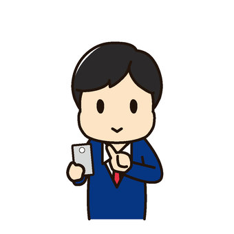 Male office worker smartphone