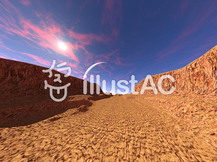 砂の惑星の崖谷のイラスト