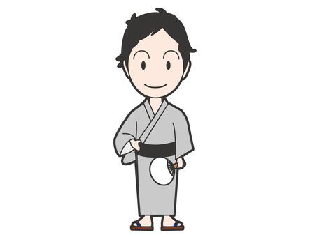 Men in a yukata appearance