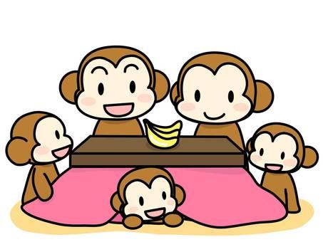 The monkey family entering the kotatsu