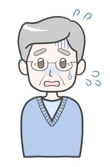 困って焦っている年配男性 冷や汗