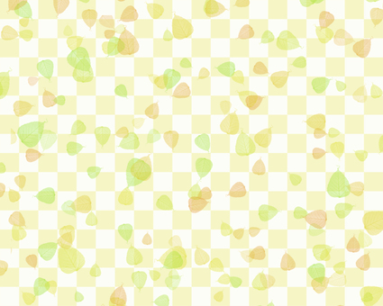 Leaves and checkerboard background 2