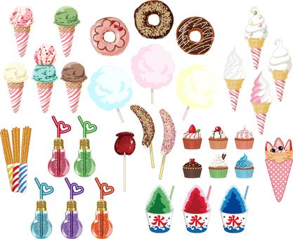 Sweet food illustration set transparent ant