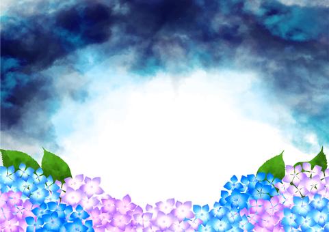 흐린 하늘과 수국