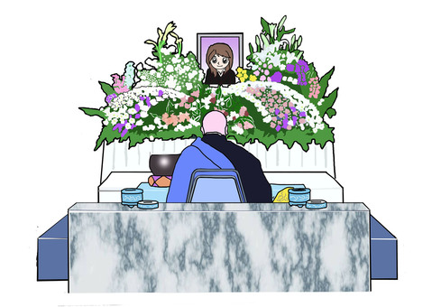 Funeral flower altar and soup