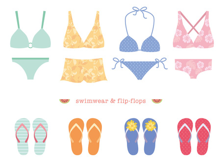 Swimming suit and beach sandals Various