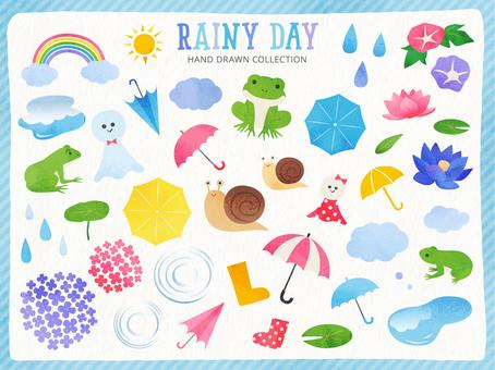 Watercolor style illustration set of rainy season