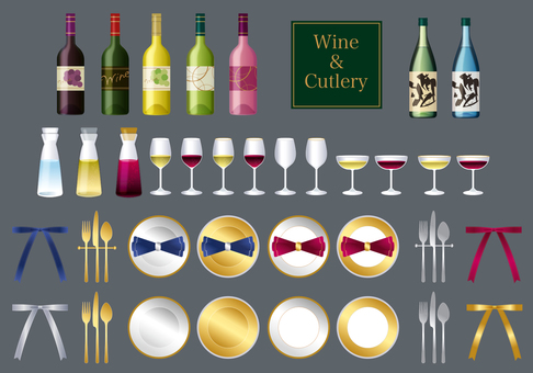 Wine and cutlery illustration material set