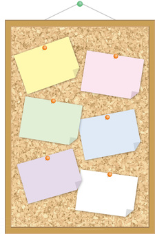 Wall-mounted cork board (thumbtack / sticky note) portrait