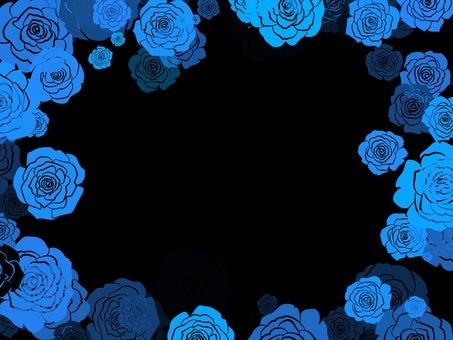 Rose frame blue black background fantasy