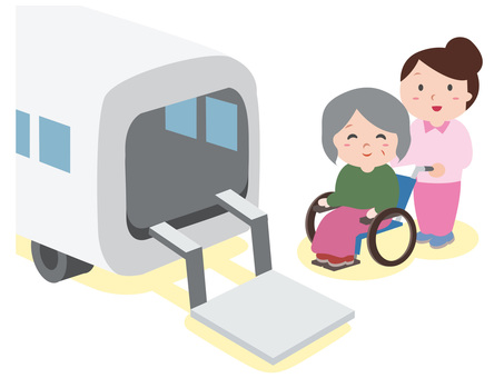 Care worker and shuttle bus