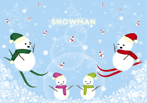 Skiing and Snowman