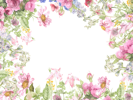 Flower frame of pink flowers - frame