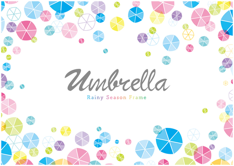Rainbow colored umbrella background frame
