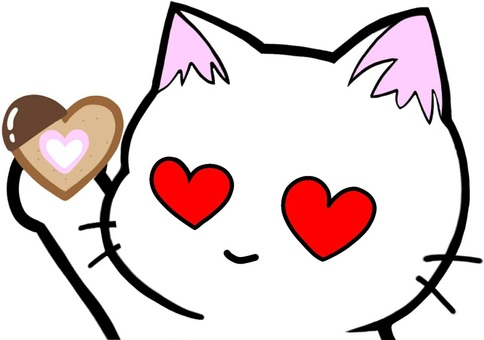 Cat with heart cookie