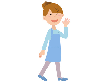 70110. Woman apron, walking 1