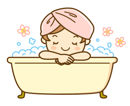 A woman taking a bath
