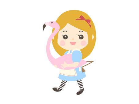 Children walking in the costume of Alice in Wonderland