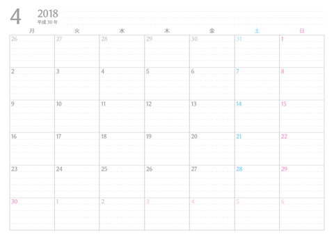 書き込みカレンダー月始まり2018年4月